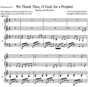 We Thank Thee, O God, for a Prophet (Teacher and Me Duet)