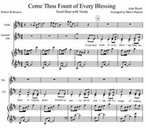 Come Thou Fount of Every Blessing (Vocal Duet  SA with Violin)