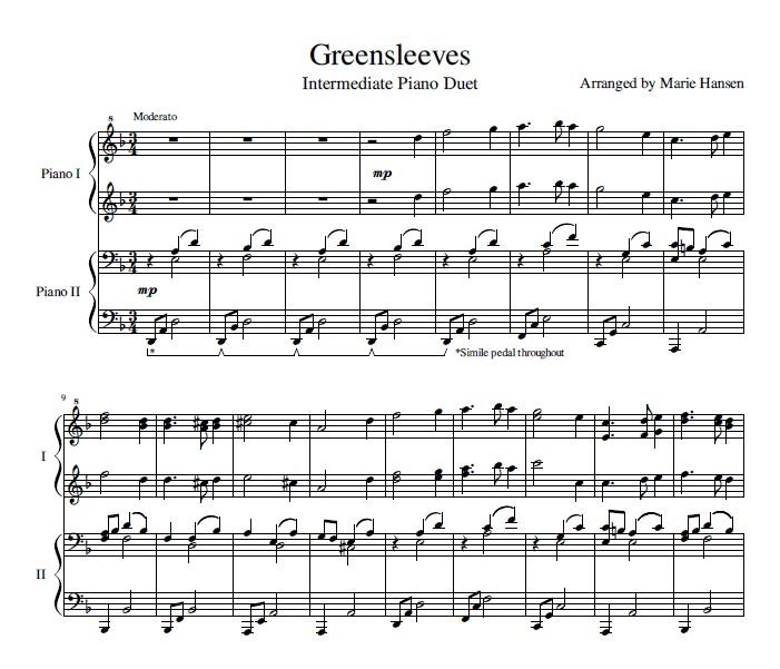 Greensleeves Piano Duet Sheet Music Maries Music